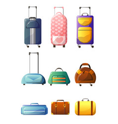 collection of modern and retro suitcases traveler vector image