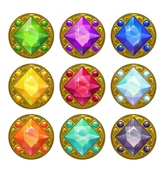 colorful round golden amulets vector image