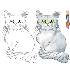 Coloring Book of funny cat Tiffany vector