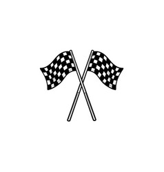 crossed black and white checkered flags hand drawn vector image