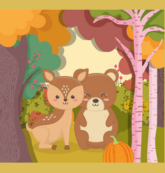 cute bear and deer with pumpkin forest hello vector image