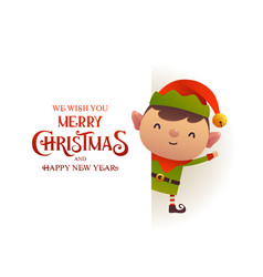 cute elf stands behind signboard advertisement vector image