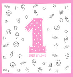 cute first birthday card pink number one vector image