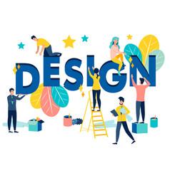 Design studio employees fix word letter in vector