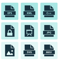document icons set with programming language vector image