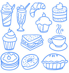 doodle of various food and drink vector image
