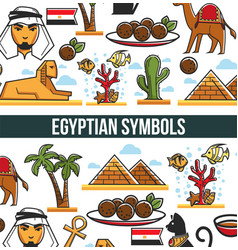 Egyptian symbols promo poster with traditional vector