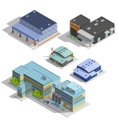 Factory Warehouse Isometric Images Set vector image