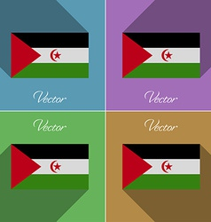 Flags Western Sahara Set of colors flat design and vector