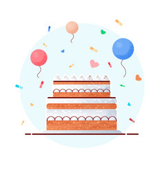 flat cake birthday in beautiful modern vector image