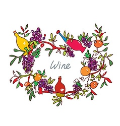 Frame for wine with leaves and bottles - vector image