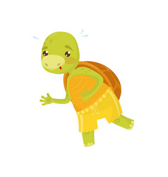 funny turtle in yellow sports shorts on morning vector image