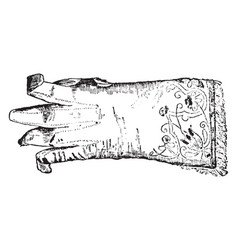 Glove of charles vintage engraving vector