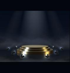 Golden pedestal realistic empty award or ceremony vector