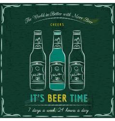 Green blackboard with three bottles of beer vector