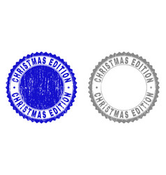 grunge christmas edition textured stamp seals vector image