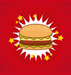 hamburger comic pop art vector image