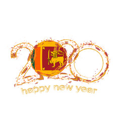 Happy new 2020 year with flag sri lanka vector
