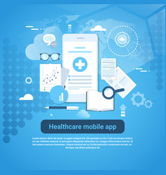 Healthcare mobile app template web banner with vector