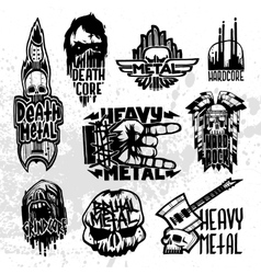 Heavy rock music badge set vector