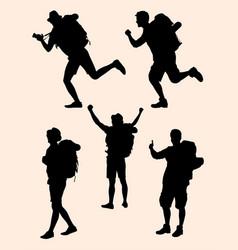 hiker gesture silhouette 03 vector image
