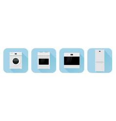 home appliances symbols blue icons vector image