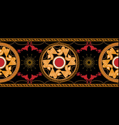 horizontal seamless with golden baroque and round vector image