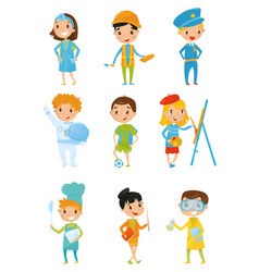 kids in various costumes children s dream jobs vector image