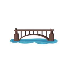 large bridge over lake straight footbridge vector image