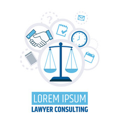 Lawyer consulting justice scales a banner vector