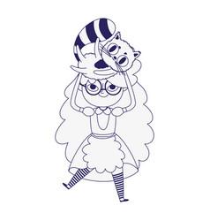 little girl princess carrying cat cartoon vector image
