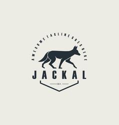 logo golden jackal walking emblem vector image