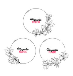 magnolia contour drawing branch round frames set vector image