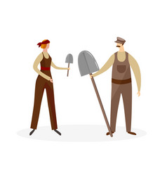 male and female agricultural worker characters vector image