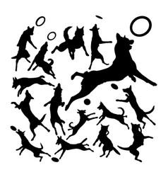 Malinois belgian shepherd dog silhouettes vector