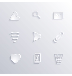 Modern paper icon set collection with long shadow vector image