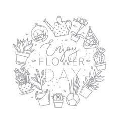 Monogram pots with plants enjoy flower day vector