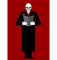 Mr Death Skeleton in a black cloak Reads last will vector