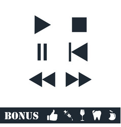 Music button icon flat vector