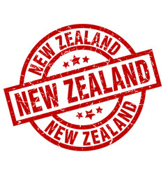 New zealand red round grunge stamp vector