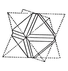 Octahedron with furrow edge vintage vector