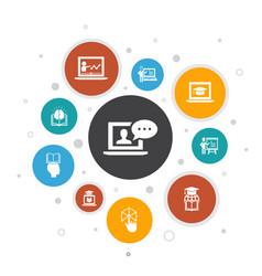 Online training infographic 10 steps bubble design vector