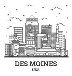 Outline des moines iowa city skyline with modern vector