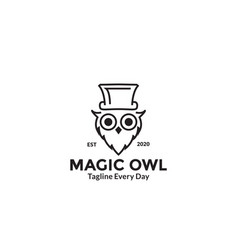 Owl head with hat logo design vector