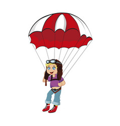 paragliding boy in pilot hat and glasses skydiver vector image