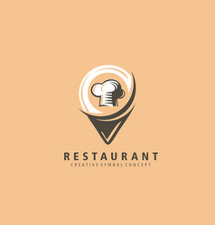 restaurant location mark logo food vector image