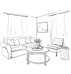 Room interior sketch Hand drawn sofa and vector