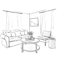 Room interior sketch Hand drawn sofa and vector image