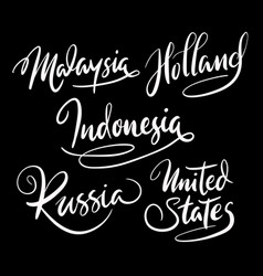 Russia and holland hand written typography vector