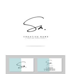 S a sa initial logo signature handwriting vector